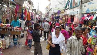 Walking through Nyay Mandir Market, busy Ladies  Mens Indian Street Bazaar, Vadodara, Gujarat India