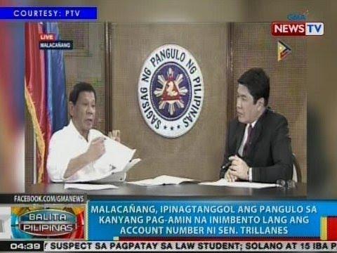 Malacañang, ipinagtanggol ang pangulo sa pag-amin na inimbento lang ang acct. number ni Trillanes
