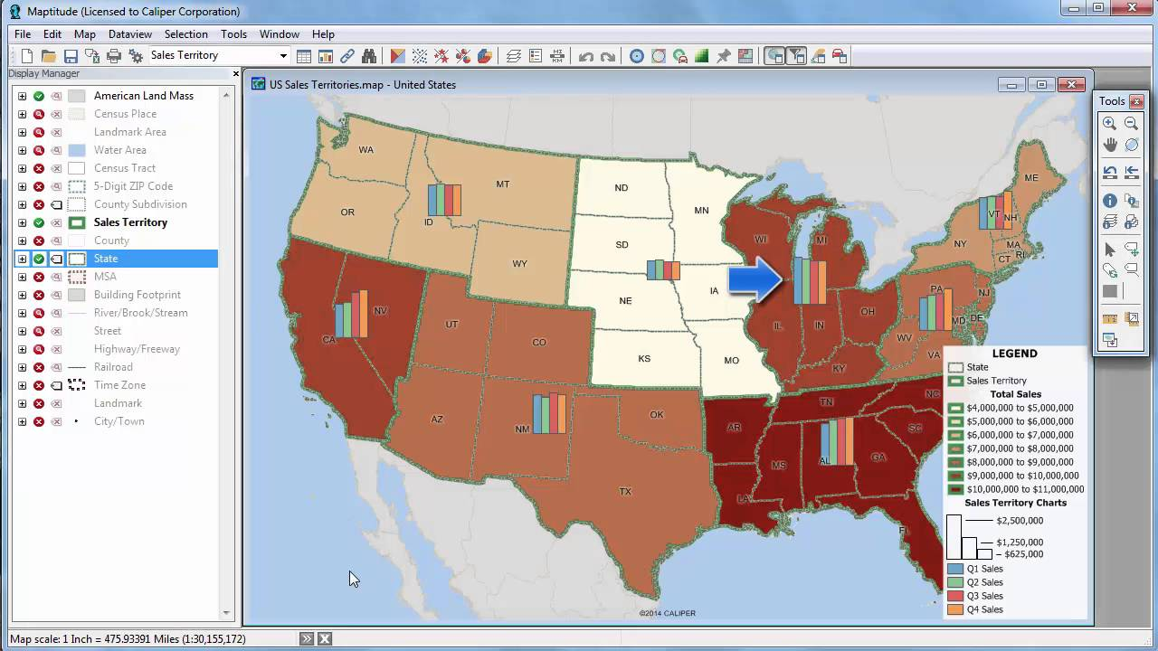 Maptitude Thematic Mapping Heat Map Software Bubble Maps - Us map software