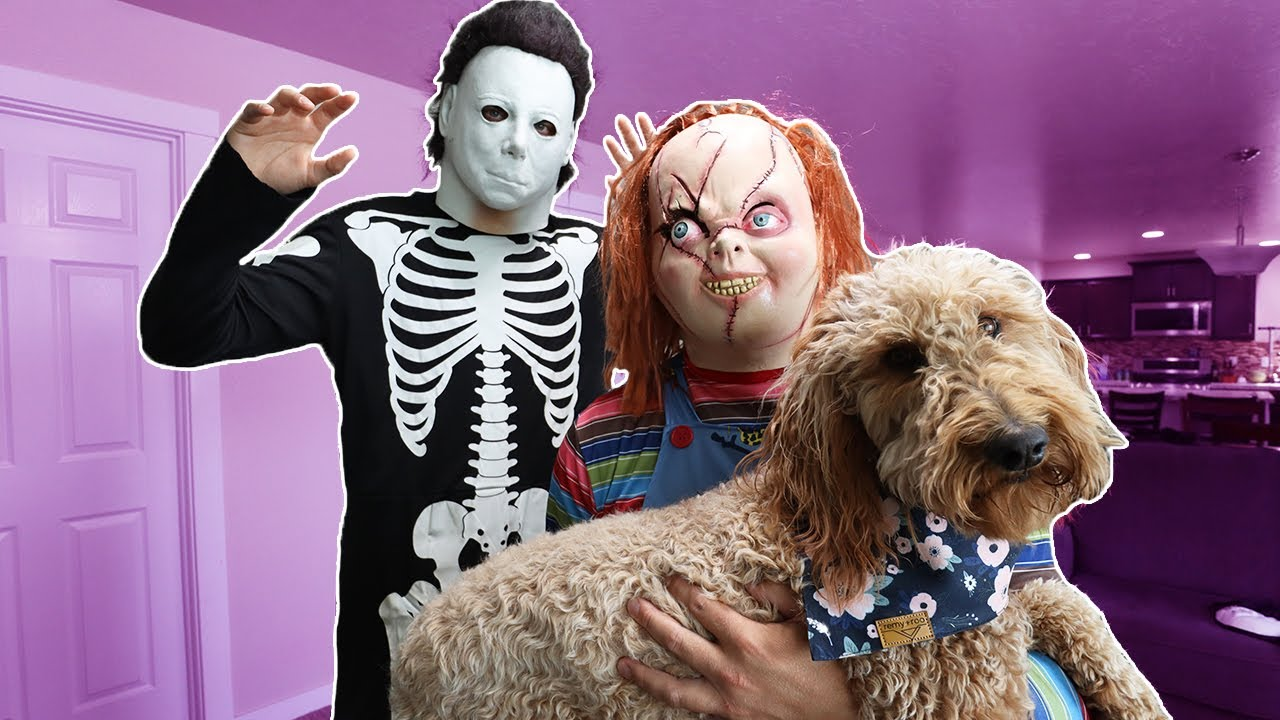 Chucky Surprises Puppy With Costume Dance Party!