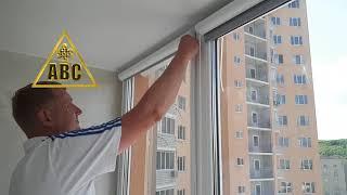 Монтаж рулонных штор Зебра Уни-2 на скотч без сверления окон | АВС