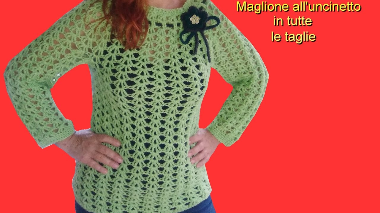 MAGLIONE TOP DOWN all uncinetto IN TUTTE LE TAGLIE crochet top down sweater 4fbdacf79e07