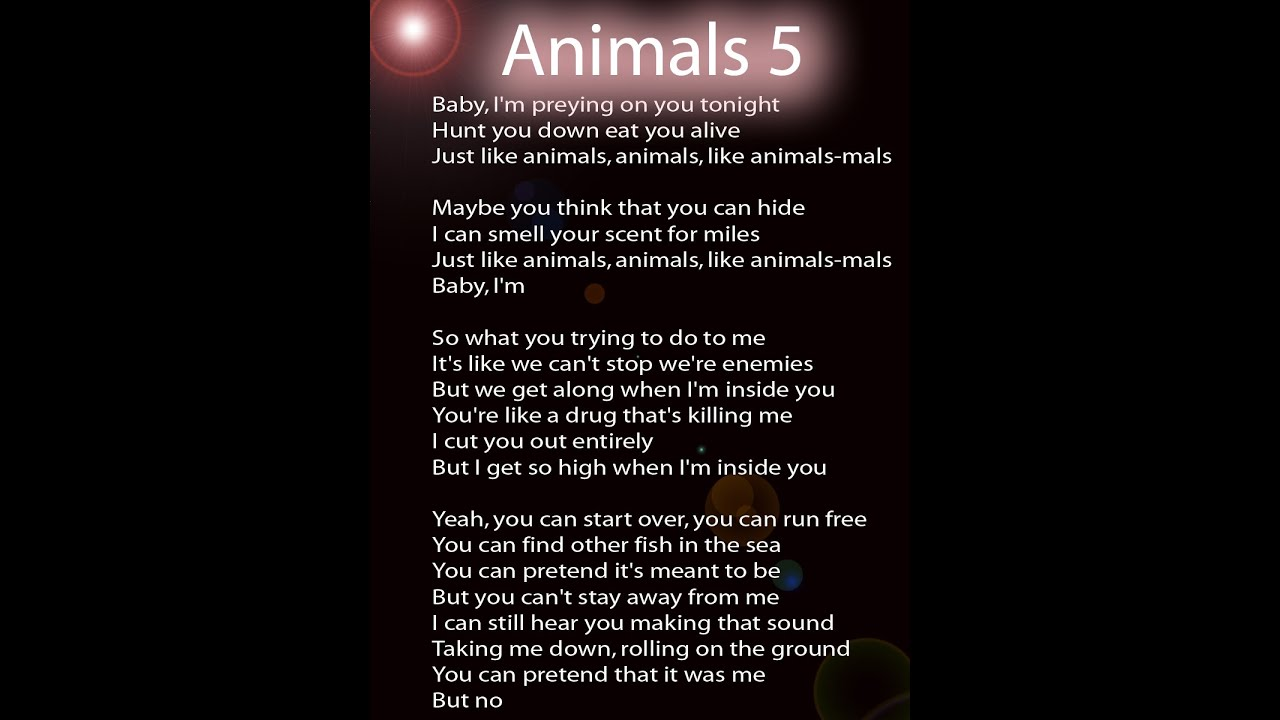 Maroon 5 Animals Full Lyrics Video YouTube
