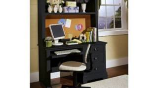 Cottage Computer Desk With Hutch Finish: Black