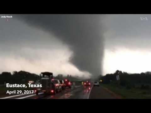 A powerful tornado was caught on camera in Eustace, Texas Saturday