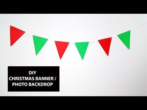 DIY FLAG BANNER | DIY PHOTO BACKDROP | DIY CHRISTMAS GARLAND | DOLLAR TREE CHRISTMAS DECORATIONS