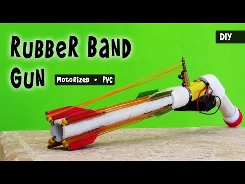 How to make a MOTORIZED PVC RUBBER BAND GUN   DIY easy toy gun