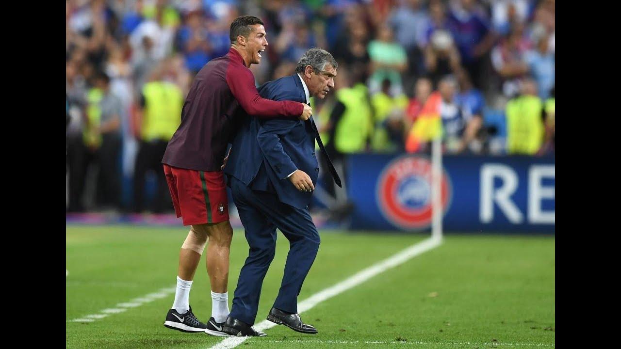 Ronaldo jostles his coach Fernando Santos