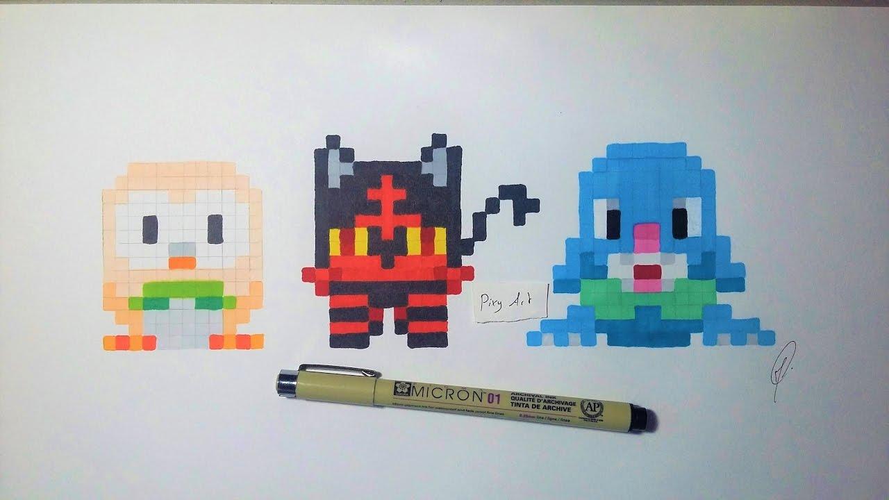 Pokemon Moon Starter Handmade Pixel Art