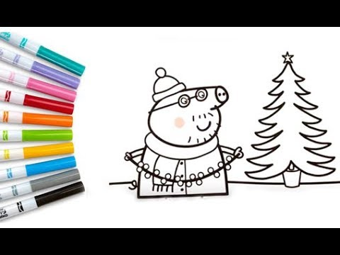 Peppa Pig Christmas Coloring Book Pages Kids Fun Art Colouring