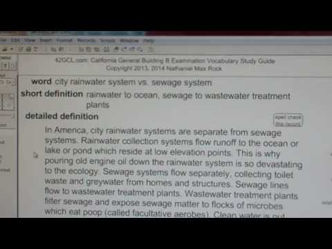 city rainwater system vs. sewage system GCE42.com General Contractors B Building Exam Top Words