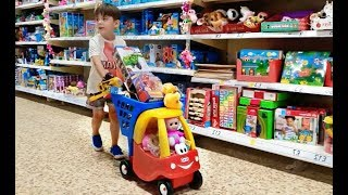 Shopping at the Supermarket with Cozy Coupe Trolley Cart and Cute Teletubbies