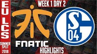 Fnc vs s04 highlights | eu lcs summer 2018 week 1 day 2 | fnatic vs fc schalke 04