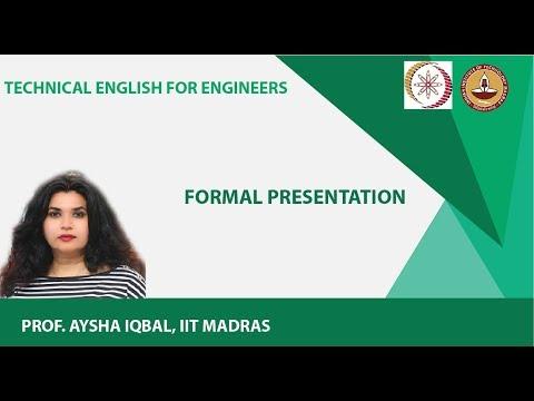Lecture 17 - Formal Presentation