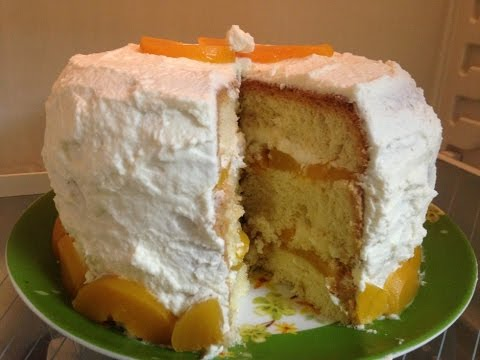 Бисквитный пирог с персиками кулинарные рецепты