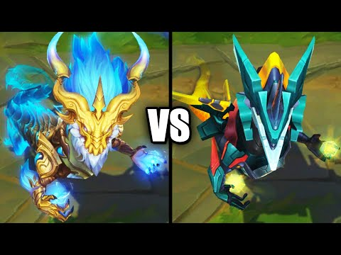 Storm Dragon Aurelion Sol vs Mecha Aurelion Sol Epic Skins Comparison (League of Legends)