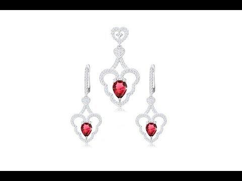c0f05275762c11 Biżuteria - Zestaw wisiorka z kolczykami, srebro 925, falisty zarys serca,  różowa kropla