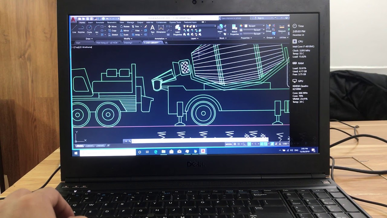 Dell Precision M4800 2020 test khả năng đồ họa Adobe Premiere, Auto cad, solidwork