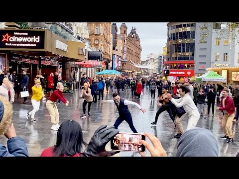 Guy Joins In With Own Proposal Flash Mob - His Freestyle is INCREDIBLE!