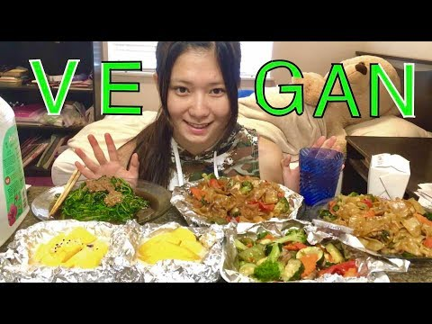 【纯素吃播】[Vegan Mukbang] Drunken noodles+Mango Sticky Rice+Tofu stir fry+Sesame paste spinach