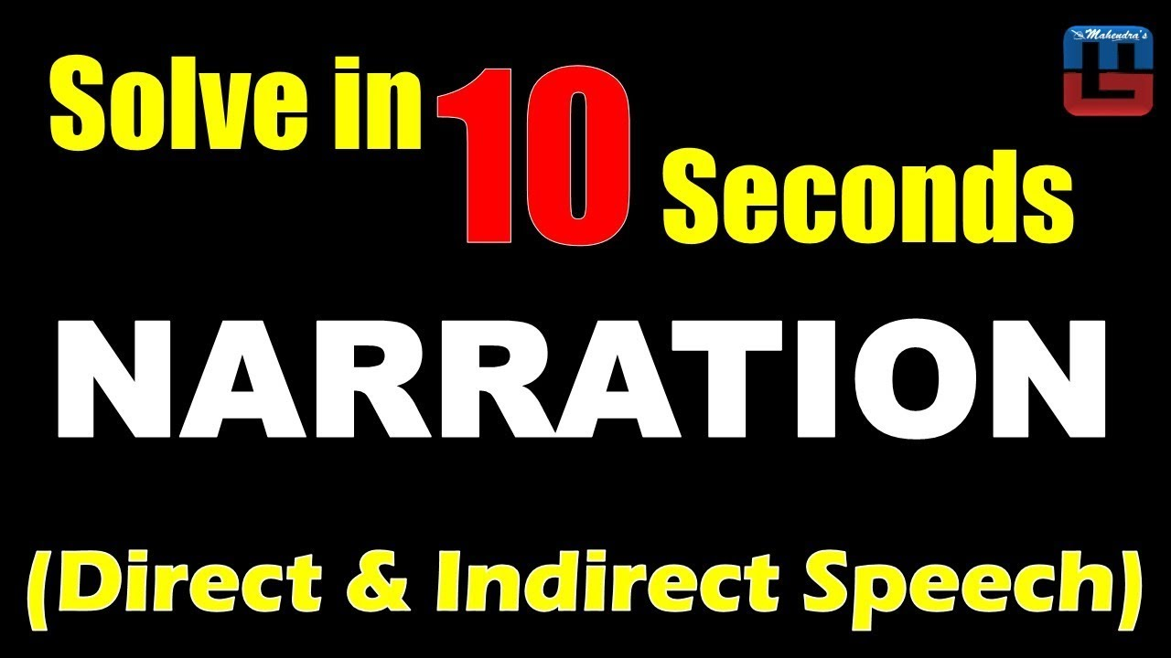 small resolution of Narration   Direct \u0026 Indirect Speech   Solve in 10 Seconds   English   All  Competitive Exams - YouTube