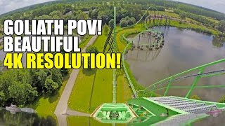 Goliath Roller Coaster 4K POV Walibi Holland - Amazing Footage!