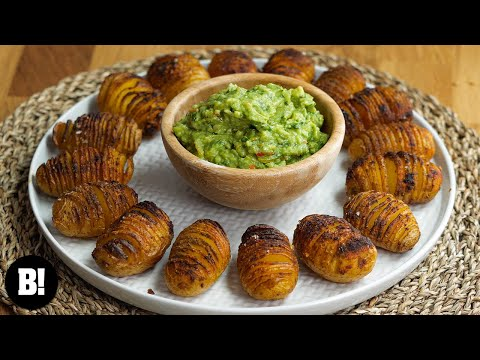Mini Hasselback Potatoes with Guac! (Party Food)