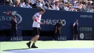 US Open 2013   QF   Murray smashes racquet after dropping first set to Wawrinka ~ Wawrinka Vs Murray