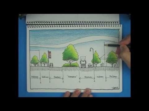 Architecture Drawing Of Trees sketch: architectural streetscape (how to draw trees with coloured