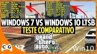 Windows 10 LTSB Gamer vs Windows 7 no GTA 5 Teste Comparativo (os 2 Vídeos na Tela) #397