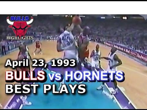 April 23 1993 Bulls vs Hornets highlights