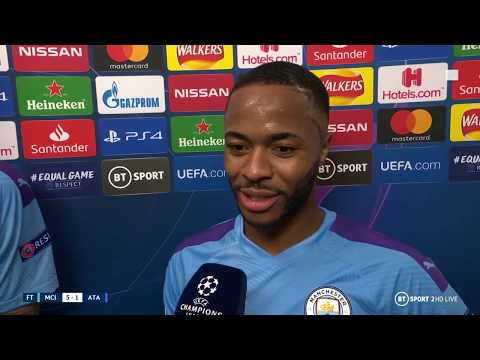 Hat-trick hero Raheem Sterling reacts to 5-1 win over Atalanta