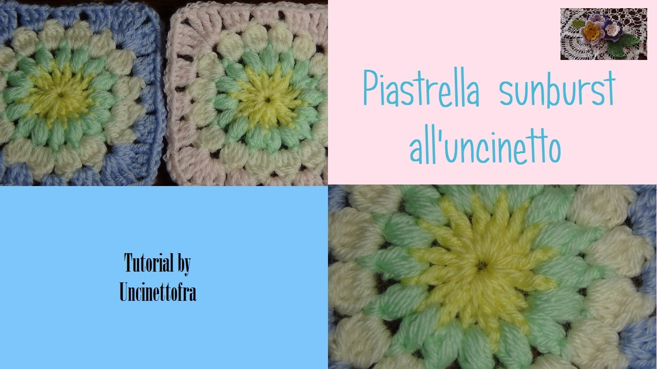 Piastrella sunburst all 39 uncinetto tutorial youtube for 100 piastrelle all uncinetto