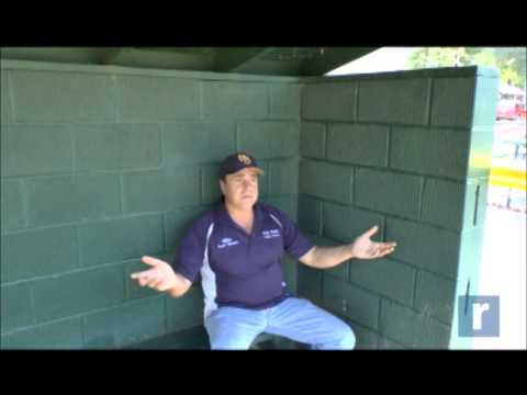 Justin Rodriguez talks to Michael Rispoli, Little League president and actor