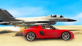 ROCKET CAR VS SUPER JET! WHO WILL WIN? (GTA 5 Online Funny Moments) | JoblessGarrett