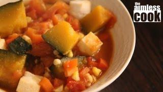 Kabocha Ratatouille Recipe - Simmered Pumpkin And Vegetable Stew