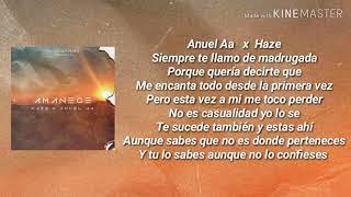 AMANECE (LETRA) - ANUEL AA