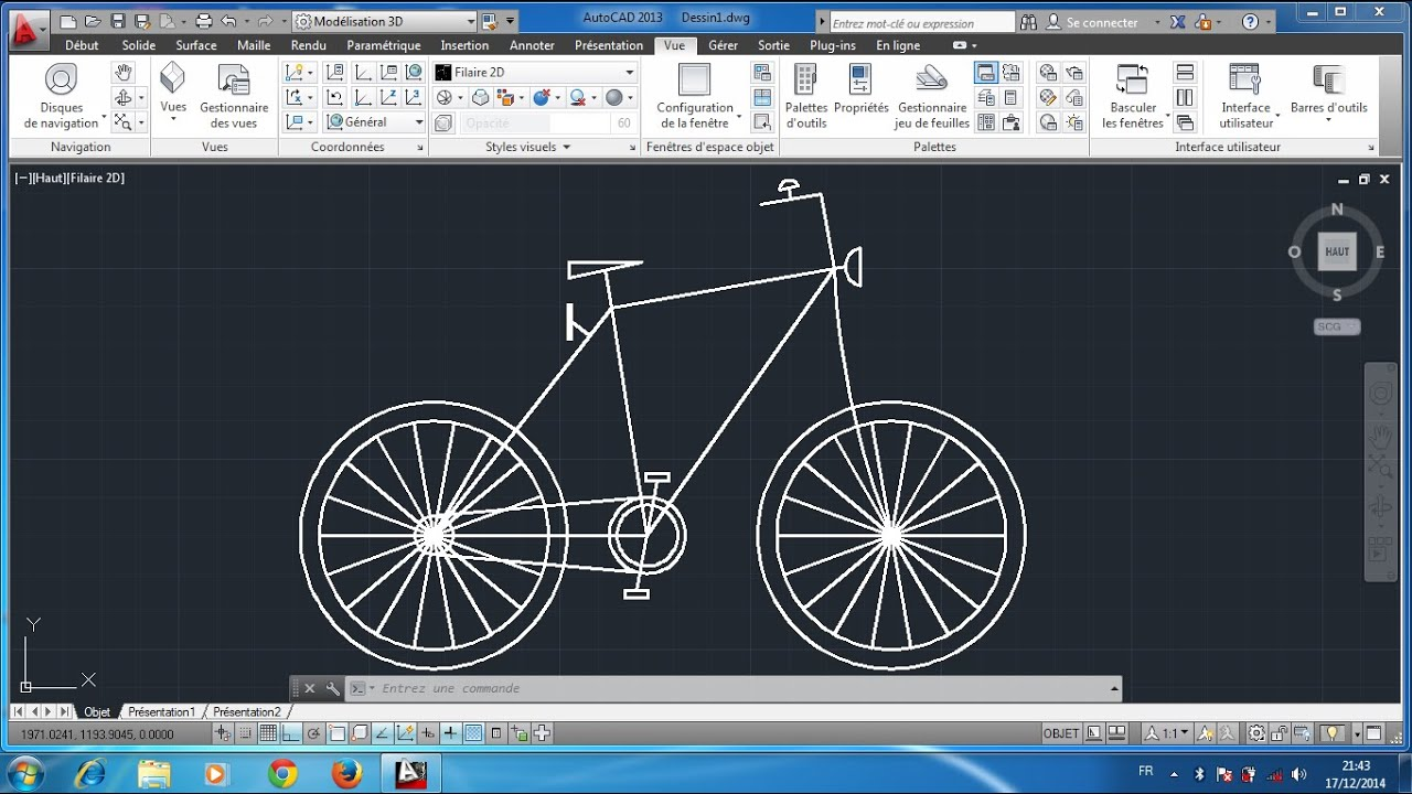 Autocad 2d bicyclette youtube Simple 2d cad