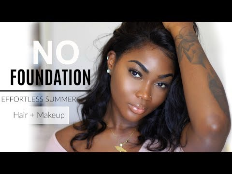 """GRWM: ITS TOO HOT OUTSIDE!! LIGHTWEIGHT HAIR + DRUGSTORE MAKEUP """" NO FOUNDATION """"  