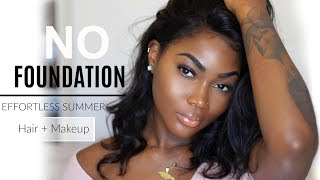GRWM: ITS TOO HOT OUTSIDE!! LIGHTWEIGHT HAIR + DRUGSTORE MAKEUP