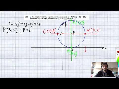№964. На окружности, заданной уравнением (x-3)2 + + (y-5)2 = 25, найдите точки: а) с абсциссой 3;