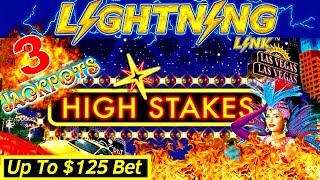 Up To $125 BET ! High Limit Lightning Link Slot Machine 3 HANDPAY JACKPOTS ! Super High Limit Slot