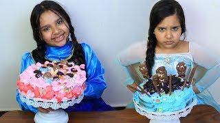 السا ضد انا !! تحدي تزيين الكيك !! cake decorating challenge