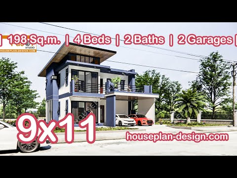 Two story home design 9mx11m 3D Animation Showreel- @ Architect Home Design Idea Concept