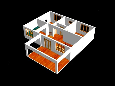 Small House Plan 11 X 9m 2 Bedroom With American Kitchen