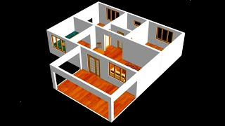 Small House Plan 11 X 9m 2 Bedroom With American Kitchen 2020