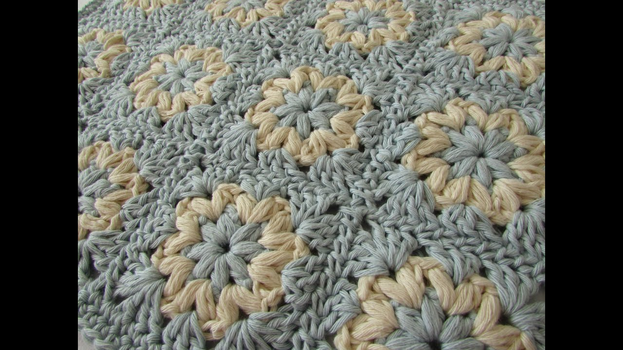 Crochet Stitches Granny Square Youtube : How to crochet a puff stitch granny square blanket / afghan - YouTube
