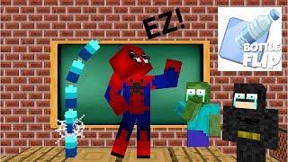 Monster School: BOTTLE FLIP CHALLENGE VS MARVEL'S AVENGERS - Minecraft Animation