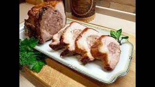 Свиная грудинка  фаршированная грибами и копчёностями запечённая в духовке! Классный немецкий рецепт