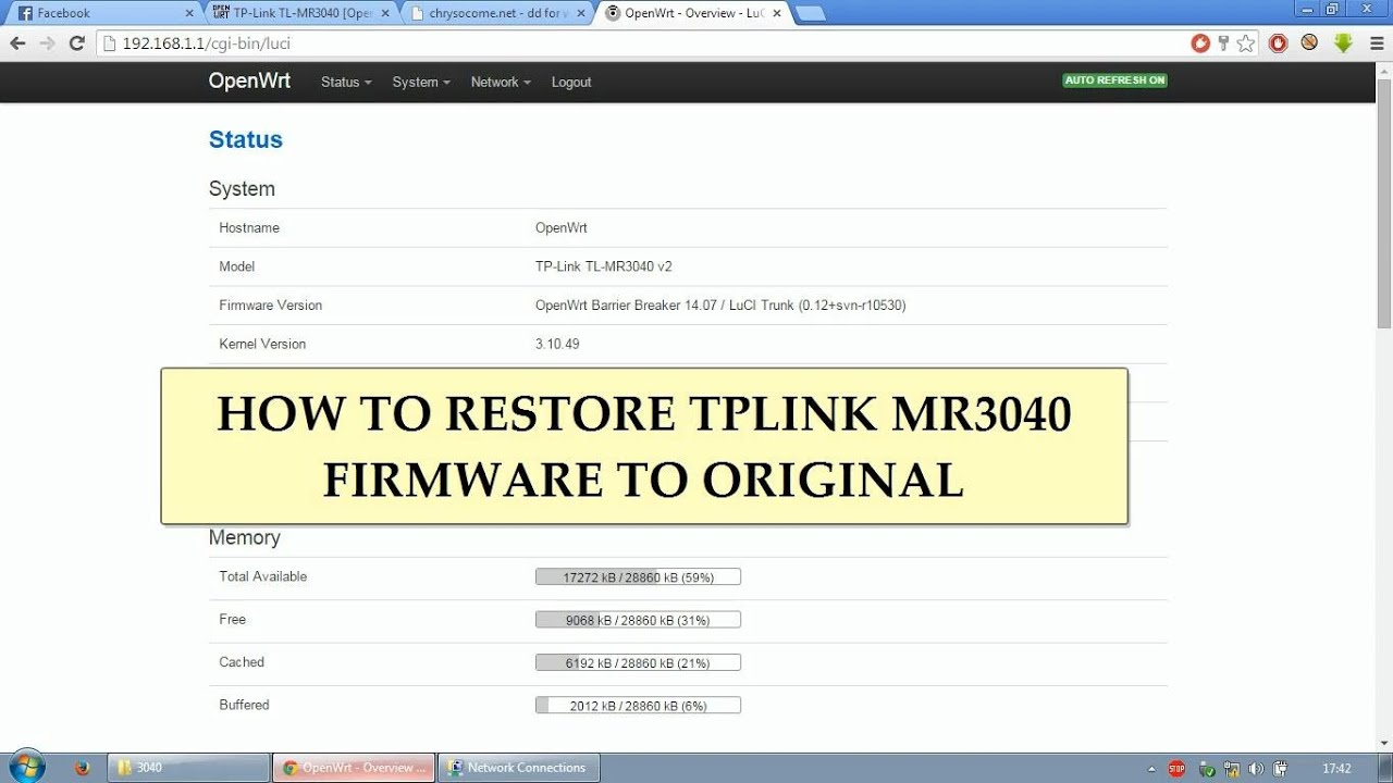 How To Restore TP-Link MR3040 Factory Firmware from OpenWRT by Agratv